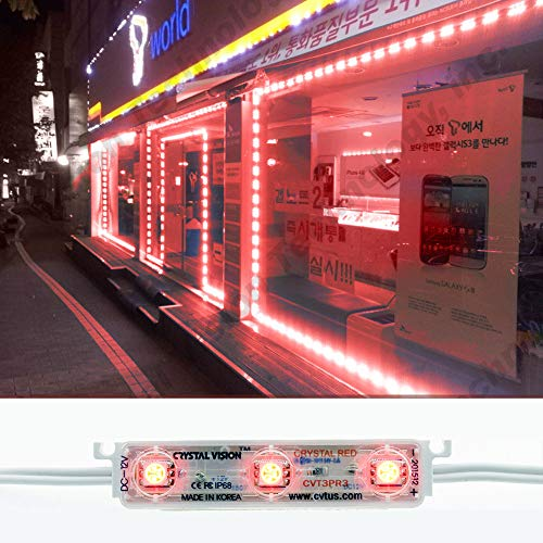 Crystal Vision Korean Genuine 5050 Bright LED Module StoreFront Window Kit/Plug-in and Play Pre-installed/ 50W Made in Korea w/Warranty (Red 25ft)