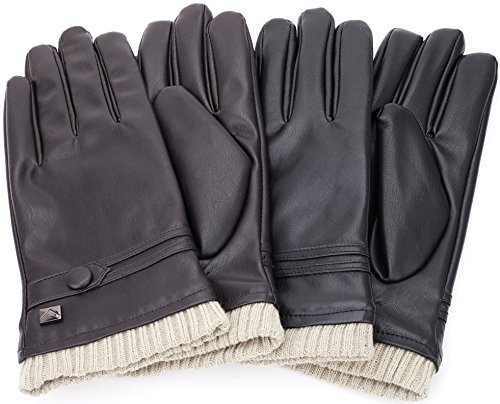 Gallery Seven Mens Faux Leather Warm Winter Gloves - Touch Screen Texting Glove - Gift Wrapped - Black Fine Button Style - Small by Gallery Seven (Image #6)