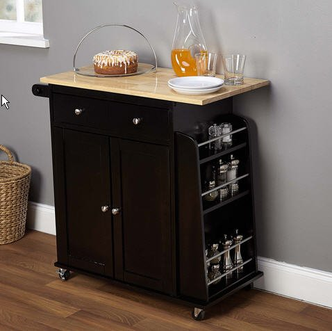 Simple Living Michigan Two-tone Black Kitchen Cart Wood Islands Bar (With Bar Cart Doors)