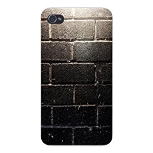 Apple Iphone Custom Case 5 5s Snap on - Lit Up Weathered Brick Wall Design
