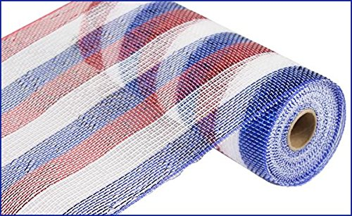 Craig Bachman 10 Inch x 30 Feet Deco Poly Mesh Ribbon - Metallic Stripe Red White Blue : RE1332H3