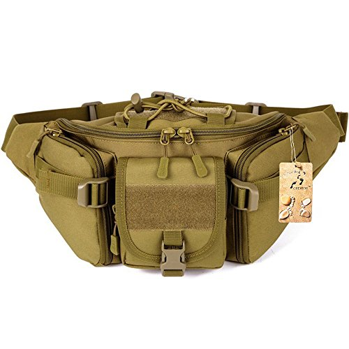 CREATOR Tactical Waist Pack Portable Fanny Pack Outdoor Hiking Travel Large Army Waist Bag Military Waist Pack for Daily Life Cycling Camping Hiking Hunting Fishing Shopping - Brown