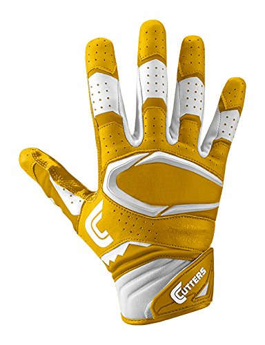 Cutters S451 Rev Pro 2.0 Receiver, Safety, Cornerback Football Gloves with Ultra Sticky C-Tack Grip Adult and Youth, Adult L, GOLD (Wide Receiver Gloves Football)