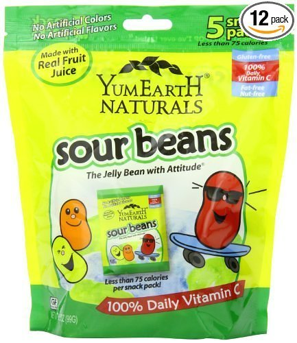 Yummy Earth Natural Sour Jelly Beans Snacks, 0.7 Ounce - 5 per pack - 12 packs per case.