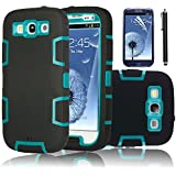 EC 3 in 1 Rubber and Silicone Armor Hard Case Bundle for Samsung Galaxy S3 i9300 with Screen Protector and Stylus - Blue / Black
