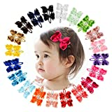 40 Pcs Baby Girls 2.75' Grosgrain Ribbon Hair Bows Clips Barrettes Hair Accessories for Infants Toddlers