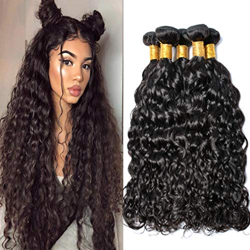Peruvian Virgin Hair Bundles Water Wave 3pcs lot 100% Human Hair Weave Extensions GEM Beauty Peruvian Water Wave Hair 14 14 14 inch 1B Color ()