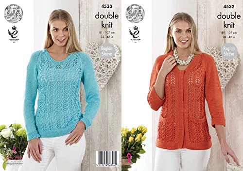 King Cole Womens Double Knitting Pattern Ladies Raglan Sleeve Lace Sweater & Cardigan Giza DK (Lace Cardigan Pattern)