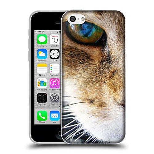 Just Phone Cases Coque de Protection TPU Silicone Case pour // V00004232 oeil gros plan de rougechat // Apple iPhone 5C