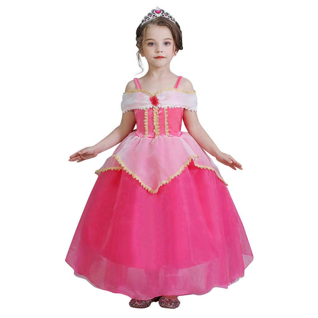 Sameno Girls Cosplay Princess Dress 3-9t Lace Tulle Puffy Tutu Pageant Party Halloween Costume Evening Ball Gown Outfit Hot Pink by SamXmasBaby