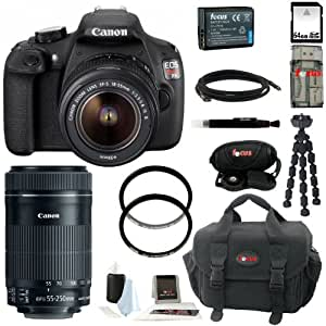 Canon EOS Rebel T5 DSLR Camera with EF-S 18-55mm IS II Lens + Canon EF-S 55-250mm f/4-5.6 IS STM + 64GB Memory Card + All in One High Speed Card Reader + Extra Lithium Ion Rechargable Battery + Deluxe Accessory Kit