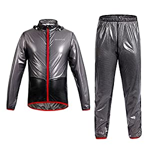 WOLFBIKE NEW Raincoat Rain Suit Windproof Waterproof Cycling Rain Jacket Pants, Gray Suit, Size M