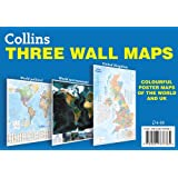 Collins Three Wall Maps: Colourful poster maps of the World and UK