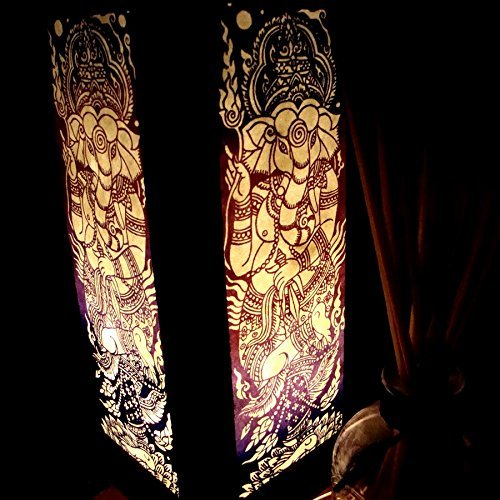 - NAVA CHIANGMAI Handmade Ganesha India Hindu Purple Handmade Asian Oriental Wood Light Night Lamp Shade Table Desk Art Gift Home Vintage Bedroom Bedside Garden Living Room