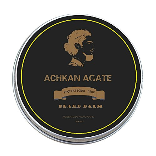 Beard Balm with Shea Butter&Argan Oil by ACHKAN AGATE-Sandalwood Scent-Men's Premium Beard Care Butter and Leave-in Conditioner-Softens, Grooms, Styles Your Beard, Whiskers and - And Most Styles Popular Beard Mustache