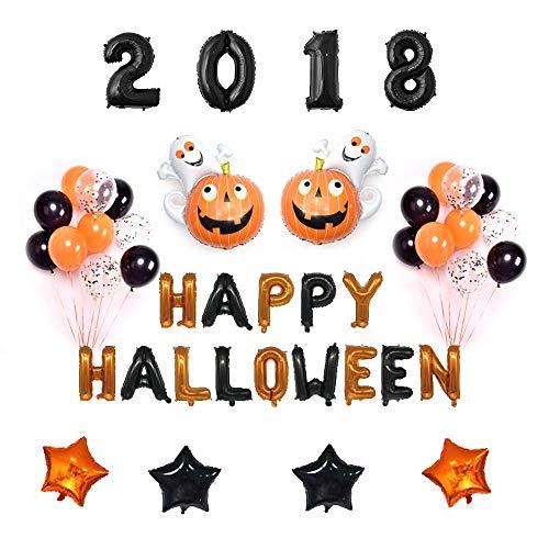 Halloween Balloons Set Black & Orange Happy Halloween Hanging Decoration Spooky Pumpkin Halloween Party Favors 46 PCS -