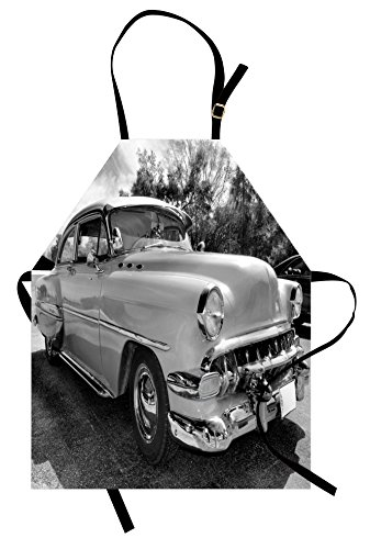 Lunarable Vintage Apron, 50s 60s Retro Classic Pin Up Style Cars in Hollywood Movies Image Artwork, Unisex Kitchen Bib Apron with Adjustable Neck for Cooking Baking Gardening, Black White and -