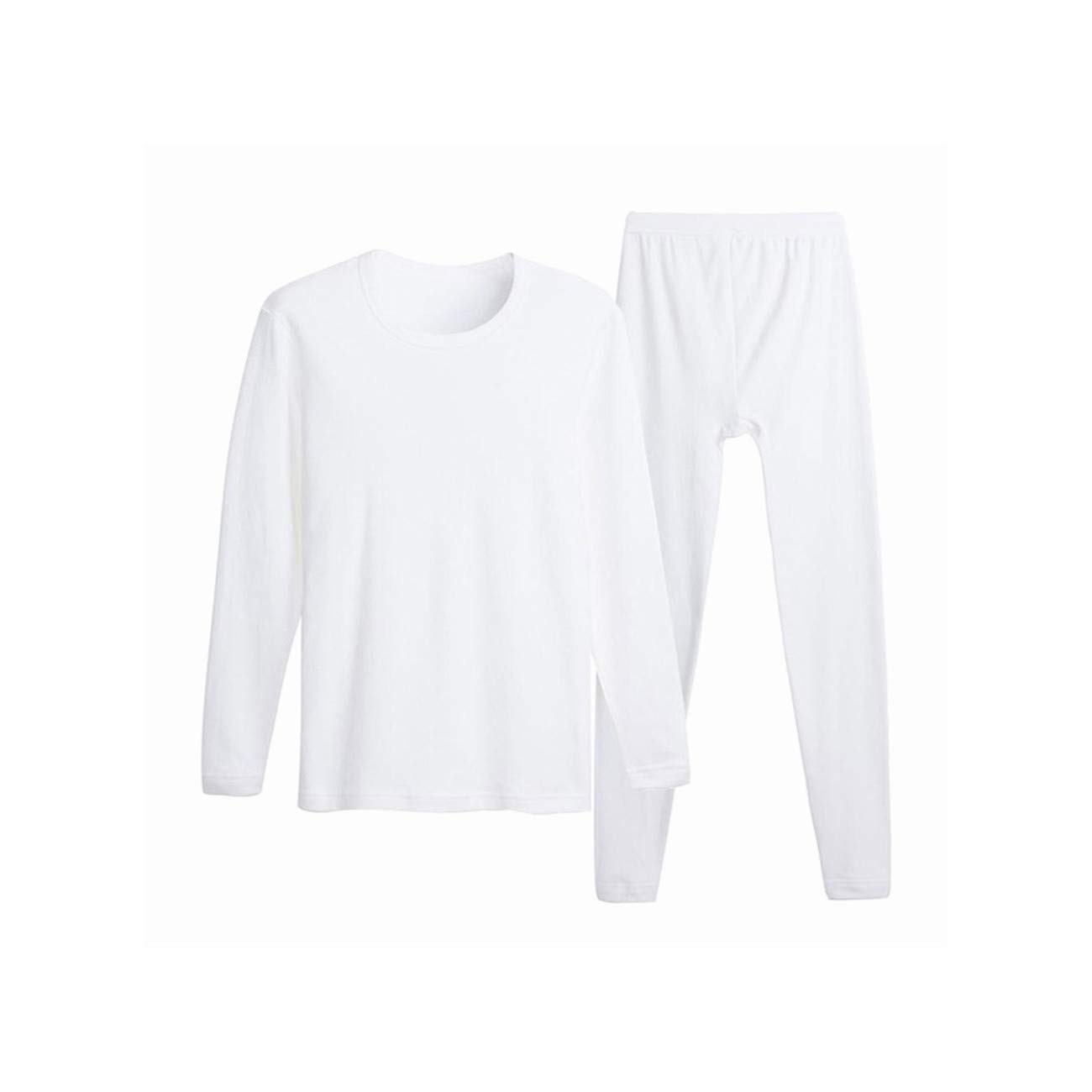 Cotton Men's O Neck Warm Set Ultra Soft Thermal Underwear Undershirt Pants Pajama,White,L by CHENGYA