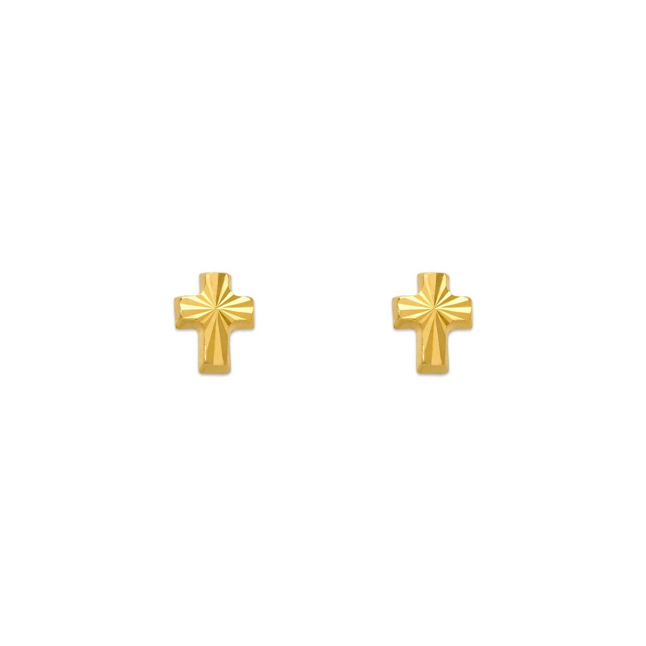 14K Gold Earrings High Polished DC Cross Stud Earrings Screwback
