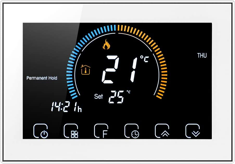 Termostato manual Decdeal para caldera de gas - Pantalla LCD retroiluminada, Indice UV / Pantalla de humedad / Función de bloqueo, Interruptor ℃ / ℉