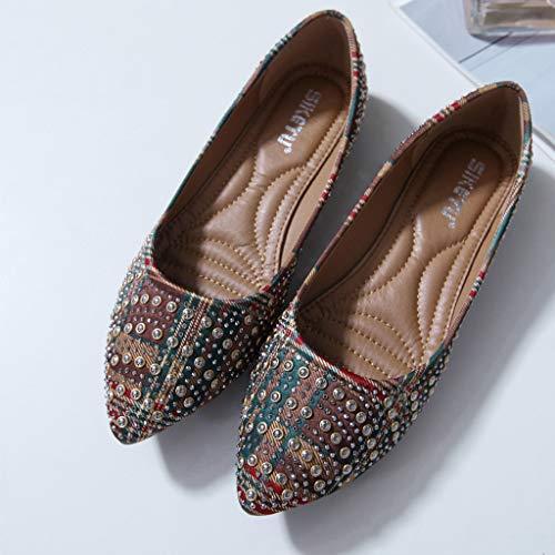 On Estate Primavera Punta Eleganti Patchwork Basse Ballerine Beige scarpe Paillettes Sandali Confortevole Donna Slip 4WzPg