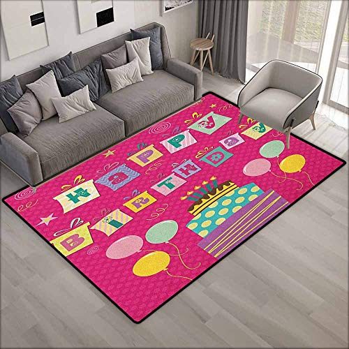 Skid-Resistant Rug,Kids Birthday Colorful Letters in Shape of Present Boxes Balloons Cake Graphic,Ideal Gift for Children,4'7