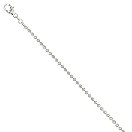 JOBO Kugelkette 925 Sterling Silber rhodiniert 2,5 mm 90 cm Halskette