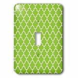 3dRose lsp_120258_1 Bright Green Quatrefoil Pattern Lime Moroccan Tiles Retro Islamic Art White Geometric Clover Lattice - Single Toggle Switch