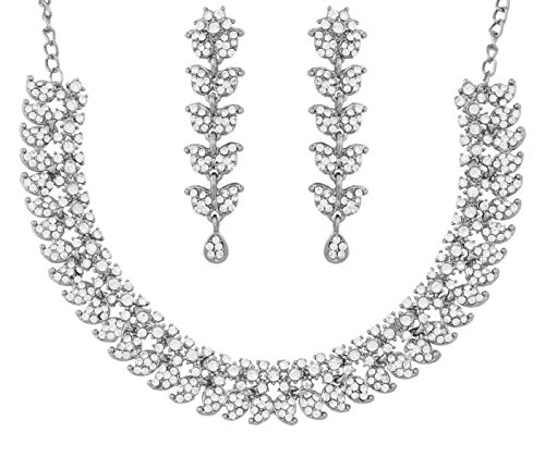 (Touchstone Hollywood Glamour White Crystals Paisley Motif Grand Jewelry Necklace in Silver Tone for)