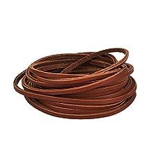 Mudder 3.5 mm Flat Genuine Leather Strip Cord String, Brown