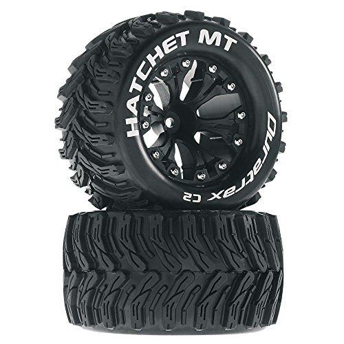 Hatchet MT 2.8 1/10 RC Monster Truck Tires with Foam Inserts: C2 Soft, Mounted, 6-Spoke Front/Rear Wheels, Black, 1/2 Inch Offset, Set of 2