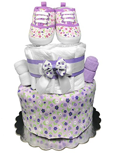 Diaper Cake for a Girl - Purple Baby Shower Centerpiece Gift Set by Sunshine Gift Baskets
