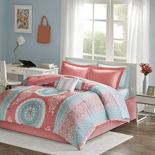 Kaputar Beautiful Blue Aqua Teal Coral Pink Girl Bohemian Boho Comforter Sheets Set | Model CMFRTRSTS - 521 | Twin Extra Long