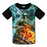 Unisex Kids Godzilla 3D Printed Round Collar Short Sleeve T- Shirt