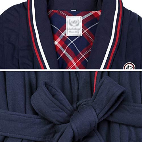 Invierno Manga Con Camisa Blue Blue Cintura Larga Pijamas Bata De Acolchada Size Algodón color Gruesa M FqUxBFfw