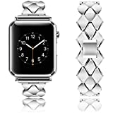 Rockvee for Apple Watch Band 38mm 42mm Women Men, Stainless Steel Metal Replacement Wristband for iWatch Nike+, Series 3 2 1, Edition (1-Pack Silver, 38mm)