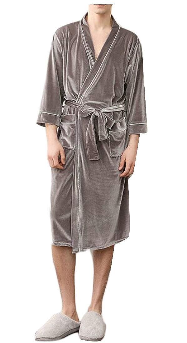 XQS Men Belt Sleepwear Velvet Homewear Thermal Comfy Robe