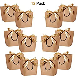 "Gift Bags with Handles - WantGor 10.63x7.87x3.55"" Paper Party Favor Bag with Bow Ribbon for Birthday Wedding Celebration Present (Kraft Paper Brown, Medium- 12 Pack)"