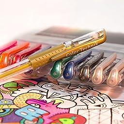 Color Technik Metallic Gel Pens with Comfort Grip, Assorted Colors, Set of 12