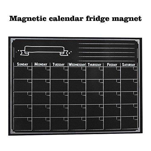 Lecent@ 16.5''X12'' Refrigerator Magnetic Dry Erase White Board Calendar Magnet Board Magnetic Organizer Board Fridge Calendar Magnet Chalk Includes 1 Marker and Eraser Monthly Planner Board by Lecent