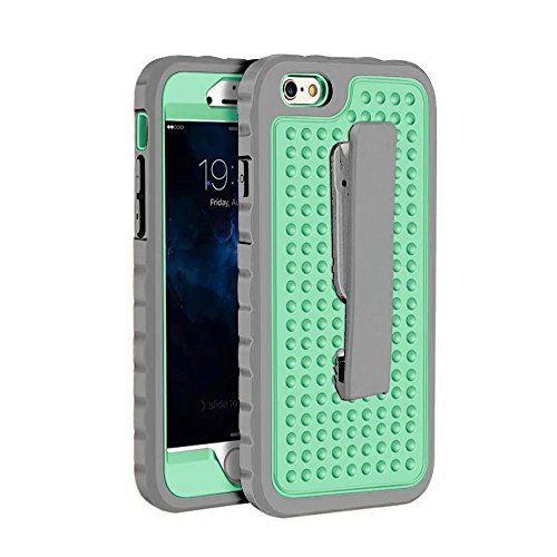 1921 Mint (iPhone 6 Plus Case,iPhone 6S Plus Case,Lantier Unique Non-Slip Design with Belt Clip Shockproof Rugged 3 in 1 Armor Protective Case Cover for iPhone 6 Plus/6S Plus 5.5 inch Grey+Mint Green)