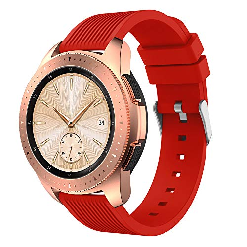 Insaneness Pure Colour Stripe Soft Silicone Watch Band Band Strap for Samsung Galaxy Watch (Red, 42mm) by Insaneness (Image #1)