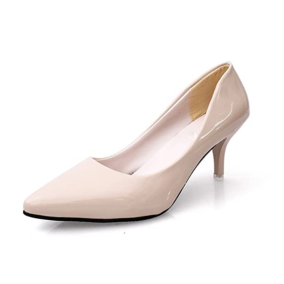 TMKOO 2017 Sommer-Absatz spitze Schuhe flacher Frauen einzelne Schuhe Mund 6cm fein mit dem Trend der Schuhe mit hohen Absätzen ( Color : Natural , Größe : 38 )