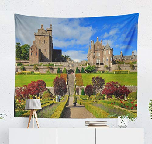 KJONG Castle Castle Century Scotland UK September Castle Autumn Scotland Beautiful Decorative Tapestry,60X50 Inches Wall Hanging Tapestry for Bedroom Living Room