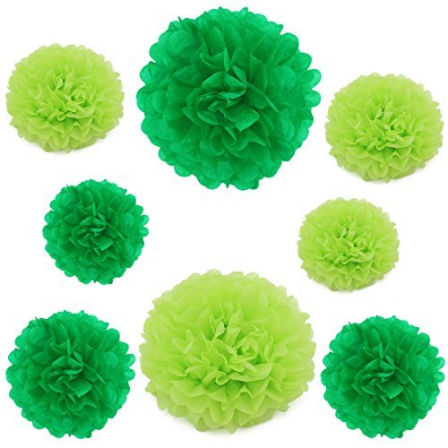 16PCS Mix Size 6 & 8 & 12 Tissue Paper Pom-poms Flower Ball Wedding Party Outdoor Decorations (Mix Green)