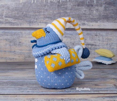 Bedroom decor, knitted bird, soft doll, stuffed animal, center piece, home decor, stuffed bird, kids room art, blue bird, bird ()