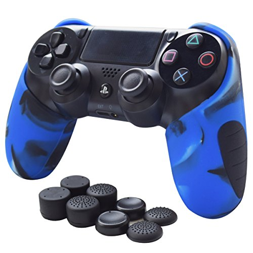 Skin Compatible for PS4 Controller Pandaren Soft Silicone Thicker Half Skin Cover Grip for PS4 /Slim/PRO Controller (Camouflage Blue Skin X 1 + Thumb Grip X 8)