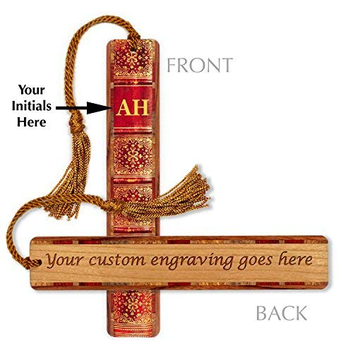 Custom Monogram Antique Book Spine with Personalized Backside on Cherry - Wood Bookmark with Tassel