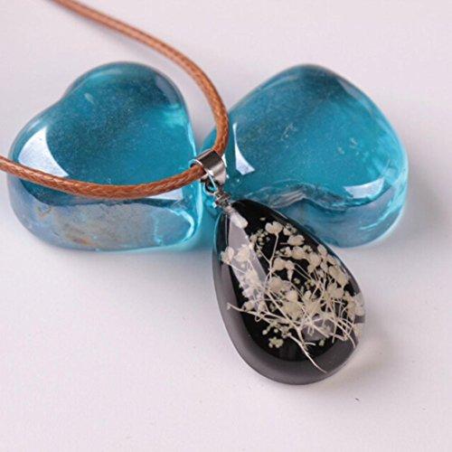 (Hemlock Luminous Necklace, Women Gemstone Pendant Necklaces Flower Teardrop Necklaces Clothes Chain (Black))