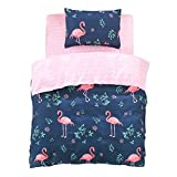 FindNew Animal Pattern Reactive Printing Bedding Duvet Cover Set, 3-Piece Suit,1 Duvet Cover,1 Fitted Sheet,1 Pillowcase, Great Gift Idea for Boys & Girls, Cool & Breathable(Twin Size, Flamingo)